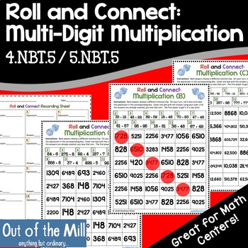 Multi-Digit Multiplication Math Game: Roll and Connect