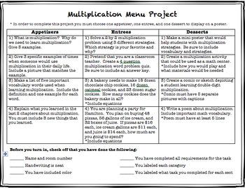 Multi-Digit Multiplication Menu Project