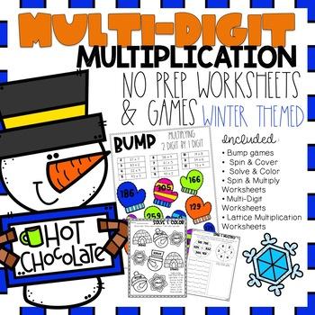Multi Digit Multiplication No Prep Games & Worksheets Winter Themed