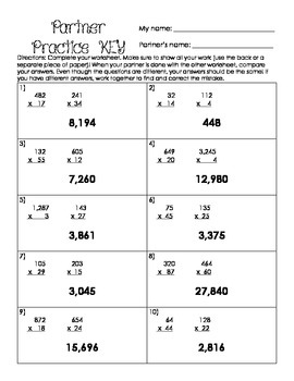 Multi-Digit Multiplication Partner Practice