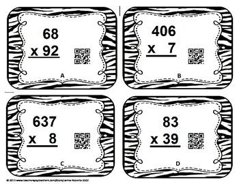 Multi-Digit Multiplication QR Task Cards