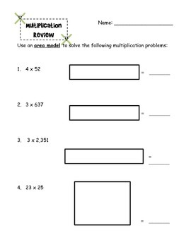 Multi Digit Multiplication Review and Test DoDEA/DoDDS CCRS CCSS Math