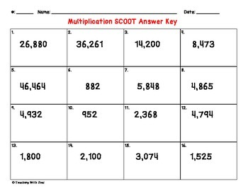 Multi-Digit Multiplication SCOOT with QR codes