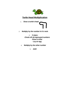 Multi Digit Multiplication, Standard Algorithm: Turtle Head