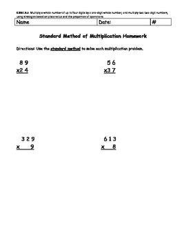 Multi-Digit Multiplication (Standard Method)