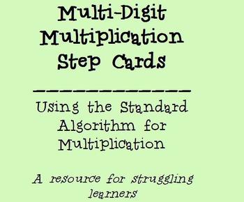 Multi-Digit Multiplication Step Card