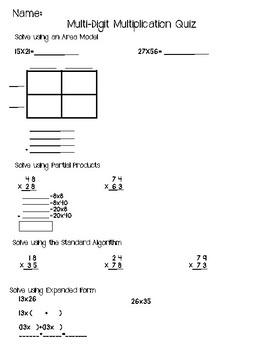 Multi-Digit Multiplication Strategies Quiz