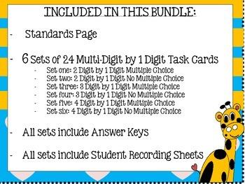 Multi Digit Multiplication (Task Card Bundle--6 Math Centers)