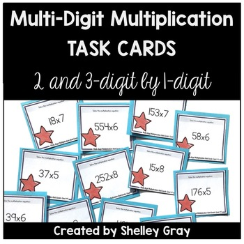 Multi-Digit Multiplication Task Cards: 2 & 3-digit by 2-digit & strategy posters