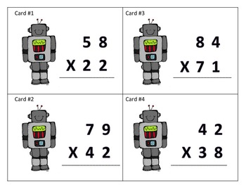 Multi-Digit Multiplication Task Cards (2 digit by 2 digit - Robot Theme)