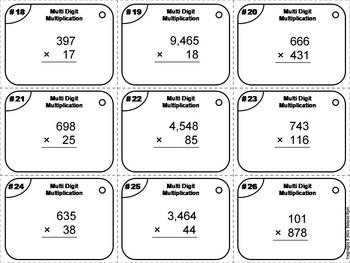 Multi Digit Multiplication Task Cards 3rd 4th 5th 6th Grade