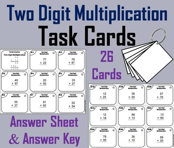 Two Digit Multiplication Task Cards for 2nd to 6th Grade