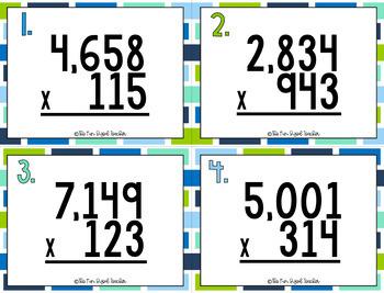 Multi Digit Multiplication Task Cards - 4 Digit by 3 Digit