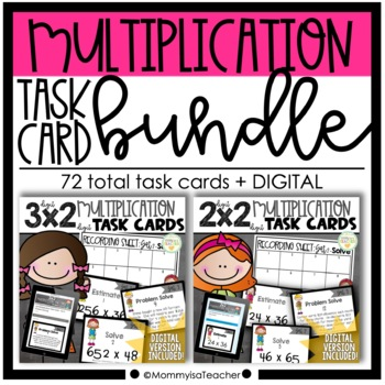 Multi-Digit Multiplication Task Cards Bundle (Growing Bundle)