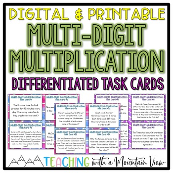 Multi-Digit Multiplication Task Cards Word Problems
