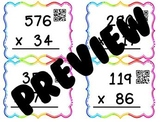 Multi Digit Multiplication Task Cards with QR Codes