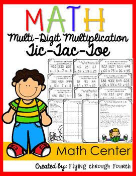 Multi-Digit Multiplication Tic-Tac-Toe {Math Center} -Diff