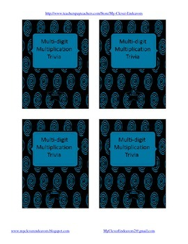 Multi-Digit Multiplication Trivia Style Game Cards