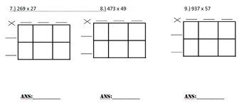 Multi Digit Multiplication Using Box Method