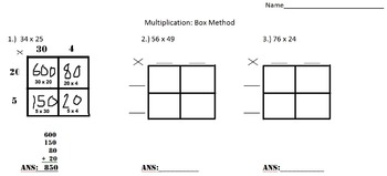 Multi Digit Multiplication Using Box Method