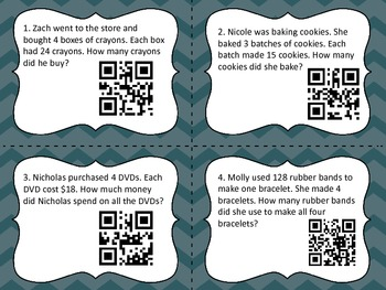 Multi-Digit Multiplication Word Problem QR Code Task Cards