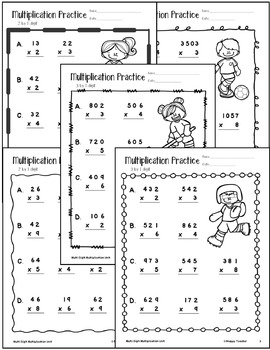 Multi-Digit Multiplication: 2x1, 3x1, 4x1, 2x2
