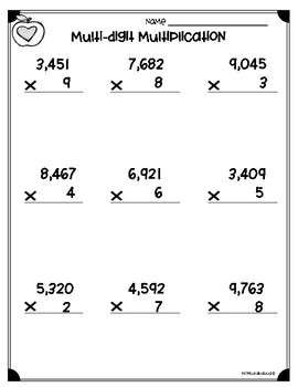 Multi-Digit Multiplication Worksheets (4.NBT.B.5 & 5.NBT.B.5)