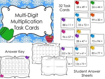 Multi-Digit Multiplication and Division Task Cards Bundle (Mittens Theme)