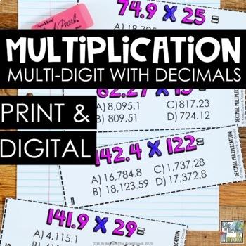 Multi-Digit Multiplication with Decimals SCOOT - 5th Grade