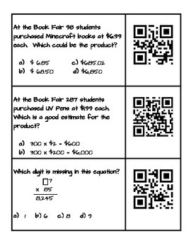Multi-Digit Multiplication with Rigor Practice with QR Codes