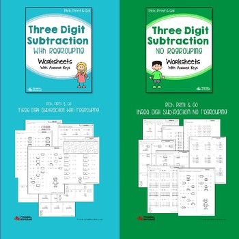 Multi Digit Subtraction With Without Regrouping Practice Worksheets Bundle