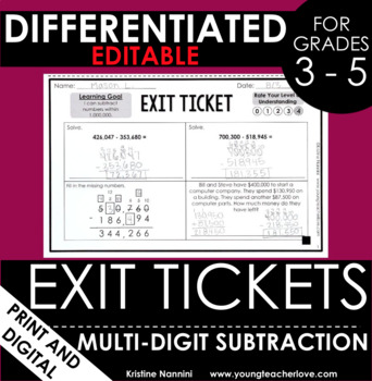 Multi-Digit Subtraction Regrouping Exit Tickets - Differentiated Quick Checks
