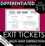 Multi-Digit Subtraction Regrouping Exit Tickets - Differen