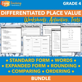 Differentiated Place Value Unit for Fourth Grade - Whole Numbers