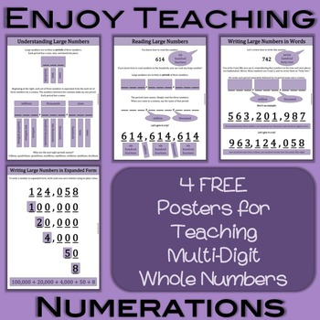 Multi-Digit Whole Numbers Numeration Posters Freebie