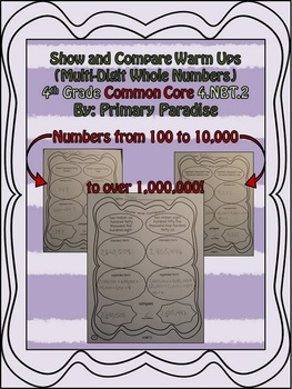 Multi-Digit Whole Numbers- Show and Compare Warm Ups {Common Core}