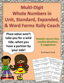Multi-Digit Whole Numbers in Unit, Standard, Expanded & Word Forms Rally Coach