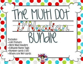 Multi Dots D'Nealian Classroom Decor Bundle
