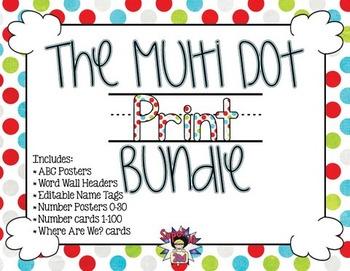 Multi Dots Print Classroom Decor Bundle