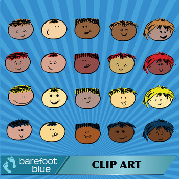 Multi-Ethnic PNG Clipart Faces, 40 colour and 40 black and white