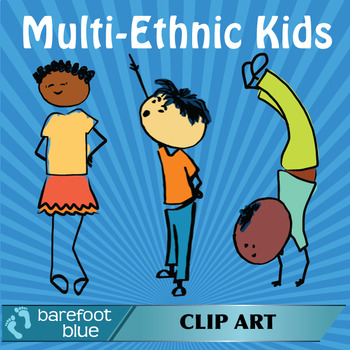 Multi-Ethnic PNG Clipart Kids, 20 colour and 20 black and white