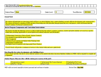 Multi-Grade Gifted Written Education Plan (WEP) includes check boxes