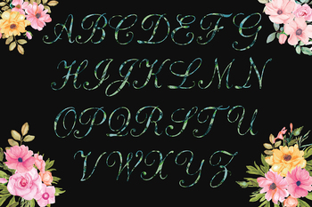 Multi Green Glitter Alphabet