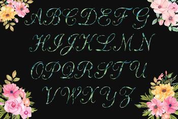 Multi Green Glitter Alphabet
