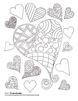 Multi-Hearts Colouring Page