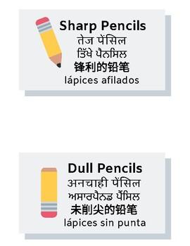 Multi-Language Sharp Pencils/Dull Pencils Label