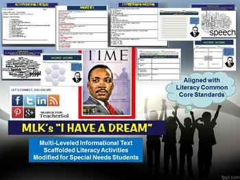 """Multi-Leveled Complex Text: Background of MLK's """"I Have A Dream"""" RI 6.1"""