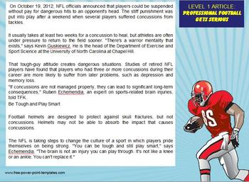 Multi-Leveled: FOOTBALL Constructed Response Practice RI 6.1