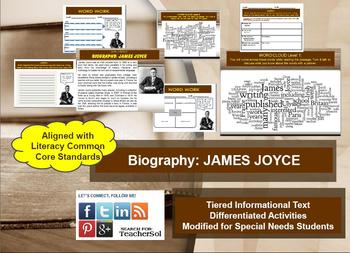 Multi-Leveled: JAMES JOYCE Constructed Response Practice & Word Work RI 8.1
