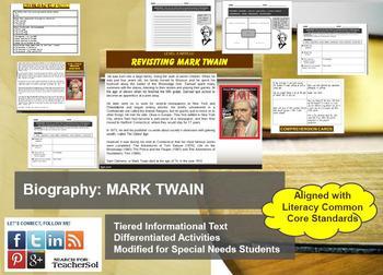 Multi-Leveled: MARK TWAIN Constructed Response Practice & Word Work RI8.10